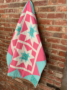 Baby Girl Handmade Star Fields Quilt - Quilts a la Mode
