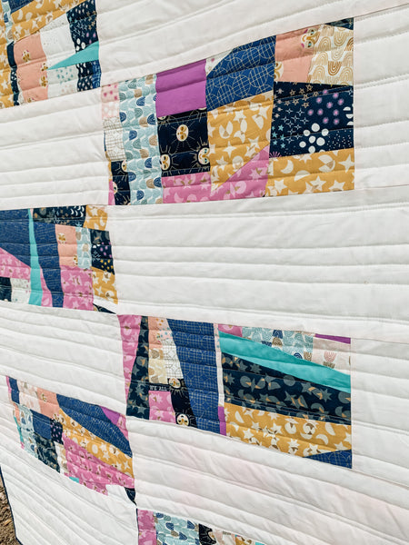 Stellar Mosaic Modern Throw or Crib Sized Quilt - Quilts a la Mode