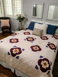Burgundy Farmhouse and Purple Mountain Queen Size Quilt - Quilts a la Mode