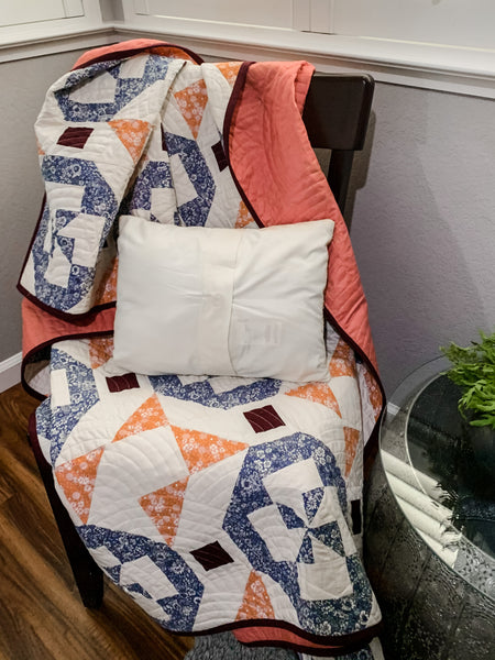 Juniper Quilt in Blue and Coral - Quilts a la Mode