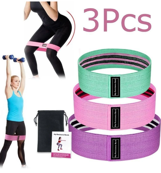 3Pcs Resistance Booty Bands Set 3 Hip Circle Loop Bands Workout Exercise Guide & Bag