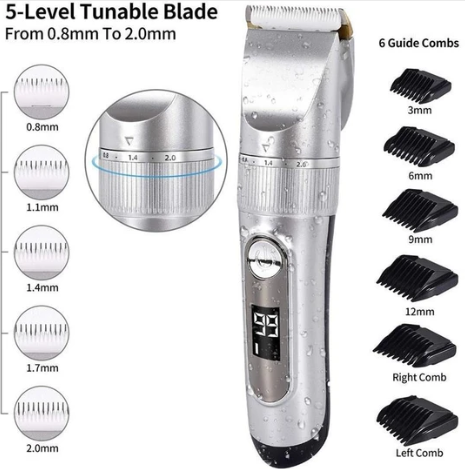 Hair Clippers Cordless Rechargeable Led Display with 6 Guide Combs Two Modes