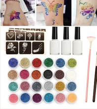 Load image into Gallery viewer, KITS 24 COLOR 125 TEMPLATES FLASH DIAMOND FLASH FOR TEMPORARY TATTOO SET KIDS FACE BODY PAINTING ART TOOLS SET