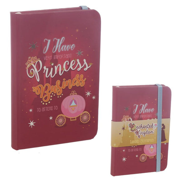Enchanted Kingdom Princess Slogan Hardback Lined Notebook
