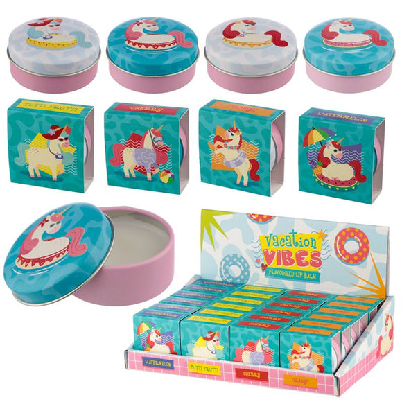 Vacation Vibes Unicorn Lip Balm in a Tin