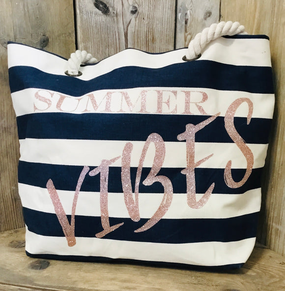 Gold glitter Summer Vibes Nautical Beach Bag