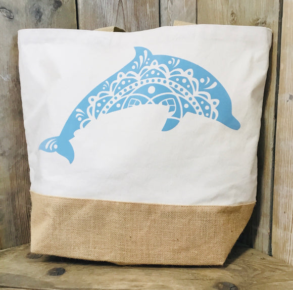 Dolphin jute base canvas bag