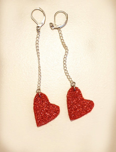 Dangle Wool Glitter Felt Heart Earrings - Punch Needle Supplies NZ