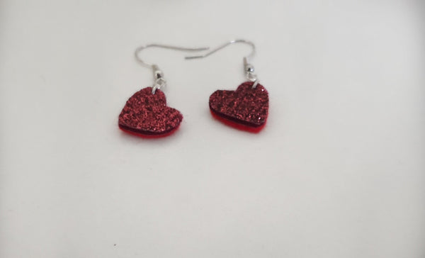 Dark Red Wool Glitter Felt Heart Earrings - Punch Needle Supplies NZ