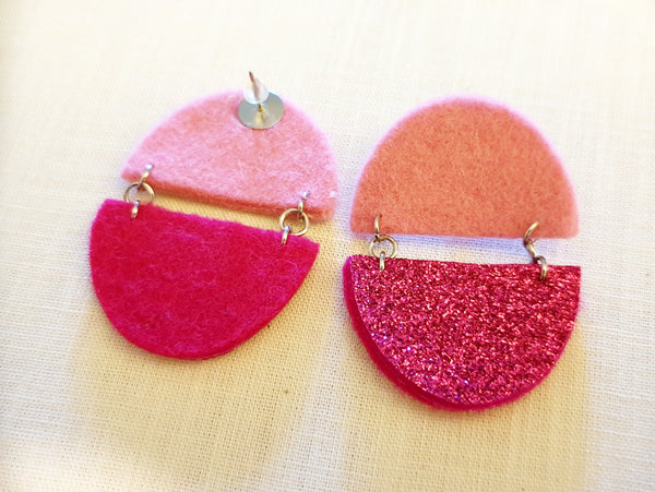 Glitter Semi Circle Earrings - Punch Needle Supplies NZ