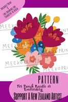 Floral Punch Needle Pattern - Meeko Prints - Punch Needle Supplies NZ
