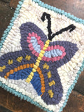 Butterfly Rug Hooking DIY Kid Friendly Kit - Primitive Beginner Rug Making Project - Punch Needle Supplies NZ