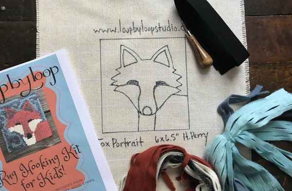 Fox Portrait Rug Hooking DIY Kid Friendly Kit - Primitive Beginner Rug Making Project - Punch Needle Supplies NZ