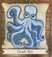 Octopus Rug Hooking DIY Kit- Primitive Beginner Rug Making Project - Punch Needle Supplies NZ