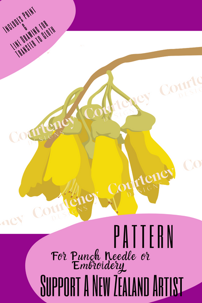"""Kowhai"" Punch Needle Pattern - Courtney Designs - Punch Needle Supplies NZ"
