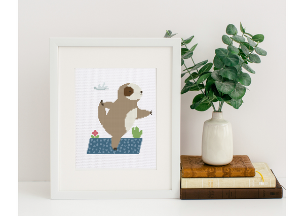 """Yoga Sloth"" Learn to Cross-Stitch with Cross Stitch Lab  - Support a Budding Artist! - Punch Needle Supplies NZ"