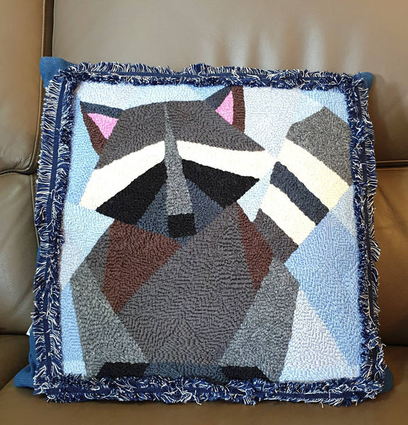 Racoon Punch Needle Pillow