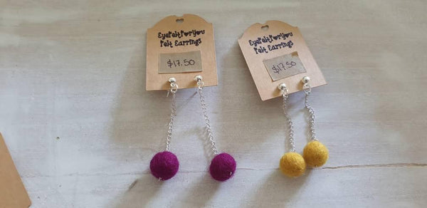 Felt Ball Dangle Chain Earrings - Punch Needle Supplies NZ