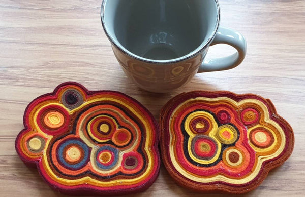 Quelted Wool Felt Coasters - Punch Needle Supplies NZ