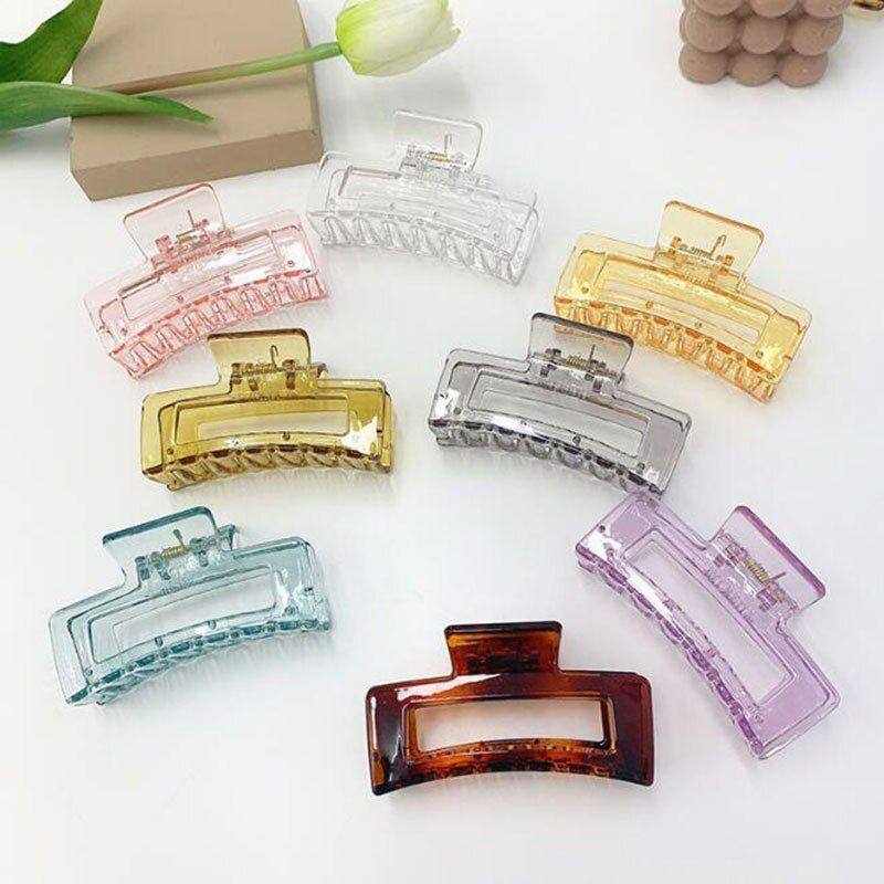 Rectangle Clear Hair Claw Clip - Rectangle Clear Hair Claw Clip - hair accessories, hair claw clip, hair clip - Tristar Boutique