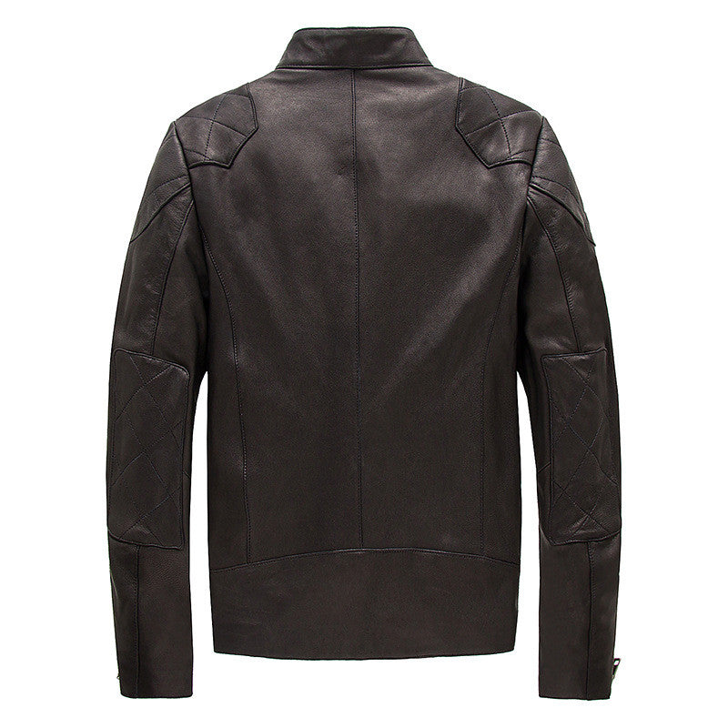 Genuine Leather and Sheepskin Motorcycle Jacket