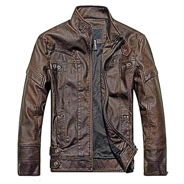 Biker Leather Jacket - Dark Brown
