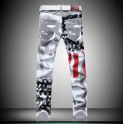 USA Flag Printed Jeans