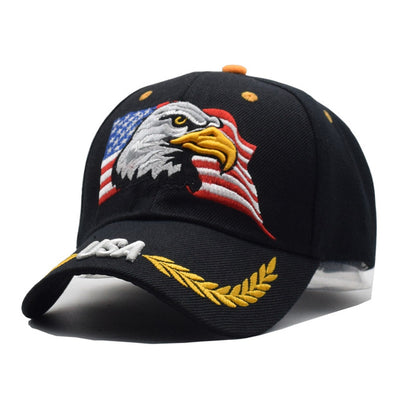 USA Eagle Baseball Cap - Black Military
