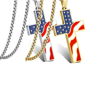 USA Flag Cross Pendant