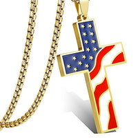 Stainless Steel USA Flag Cross Pendant
