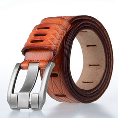 Designer 100% Luxury Leather Belt - Orange