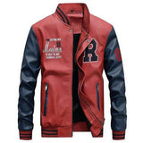 College Baseball Men's Faux Leather Jacket - Red