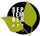 SeptemberArt Studio is owned by Laura Hunt, Artist. This logo consists of a black circle with two green leaves breaking the edges, and the words SeptemberArt stacked to the left of the circle.