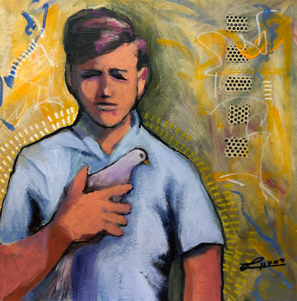 A young boy holds his pet dove gently to his chest. The boy grows up to become an advocate for peace. That's my version of the story. What's yours?