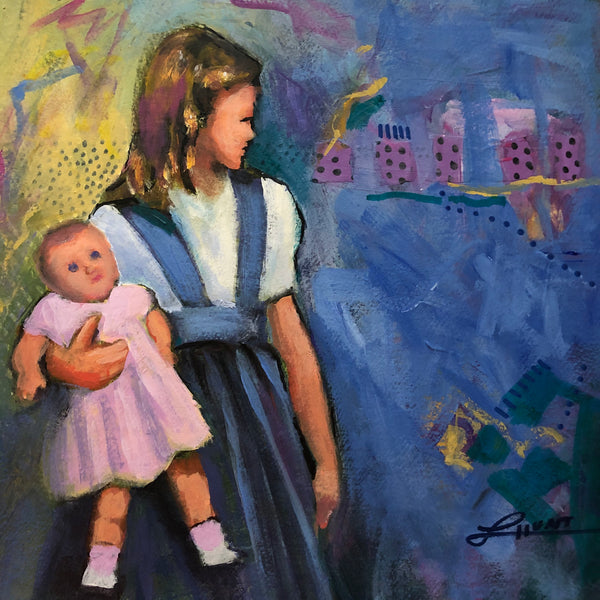 A girl holds her pink-clad doll, looking aside at something unknown. Many of my paintings are narrative in nature, but everyone brings to the work his or her own stories. I look forward to learning how you interpret this evocative piece.