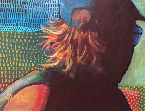 I enjoyed capturing the light as it danced in this man's unruly hair. But who is this he? What does he do? What does he look like? Does he remind you of someone? I am intrigued with the questions that arise when I paint a view from the back.