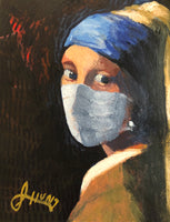I had a little pandemic fun with this contemporary take on Vermeer's Girl With Pearl Earring.