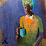 How sweet it is to start your day with an aromatic cup of coffee and a few moments to oneself like this woman with the orange bow and colorful turban is doing!
