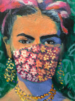 A lighthearted image of Mexican artist Frida Kahlo, wearing a mask that suits her style, protecting herself and her neighbors.