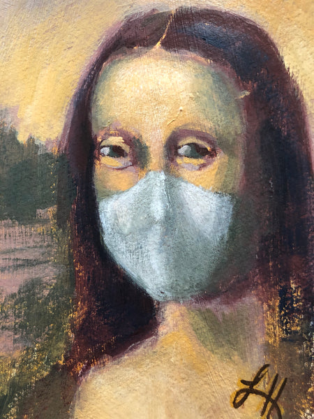 Mona smiles with her eyes as she wears a mask to protect herself and her neighbors from the plague. A visual parody of Mona Lisa.