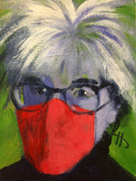 Portrait of Andy Warhol with wild white hair, dark-rimmed glasses, and a red mask.