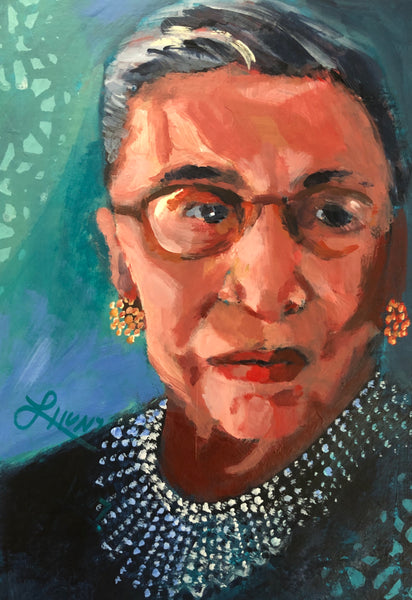 Portrait of Ruth Bader Ginsburg with a strong, determined look on her face.