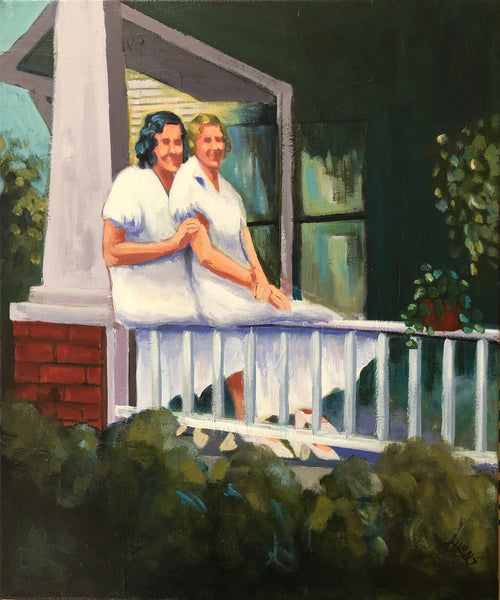 Two young women sit closely together on the rail of the front porch. Artist, Laura Hunt.