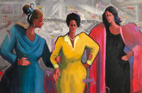 Painting of three women. The one on the left is dressed in blue, the center one in yellow, and the third in black with a pink wrap. The background is a lively abstract in shades of gray. A checkered irregular bank crosses from left to right in the upper third of the painting.