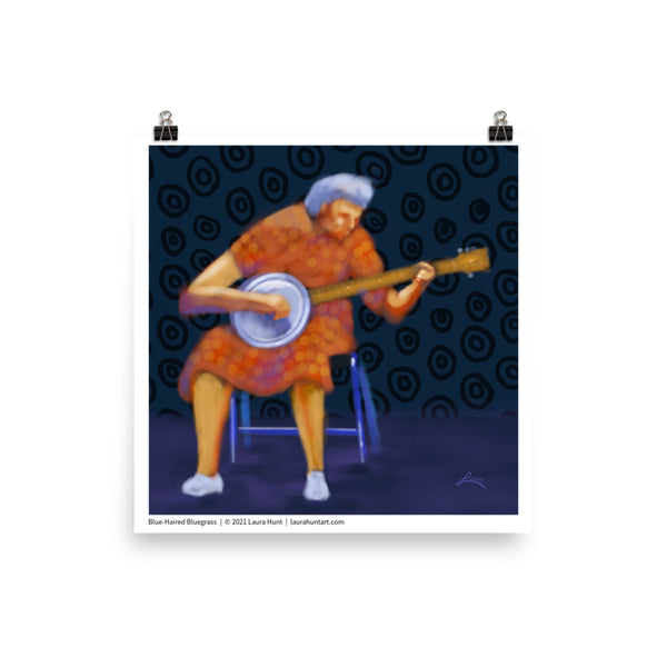 An elderly woman enthusiastically plays her banjo. Artist Laura Hunt