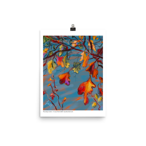 Oak leaves in orange, yellow, gold, purple green and yellow cling to the tree. By Laura Hunt