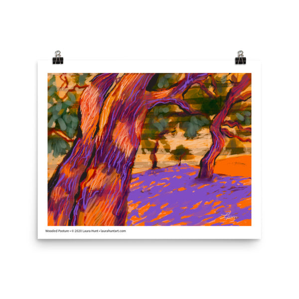 Two tree trunks are in the foreground with other trees in the distance, casting purple shade on the orange ground. Laura Hunt, artist.