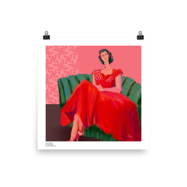 A confident women wearing a red dress with a sweeping skirt sets on a green sofa. Art by Laura Hunt