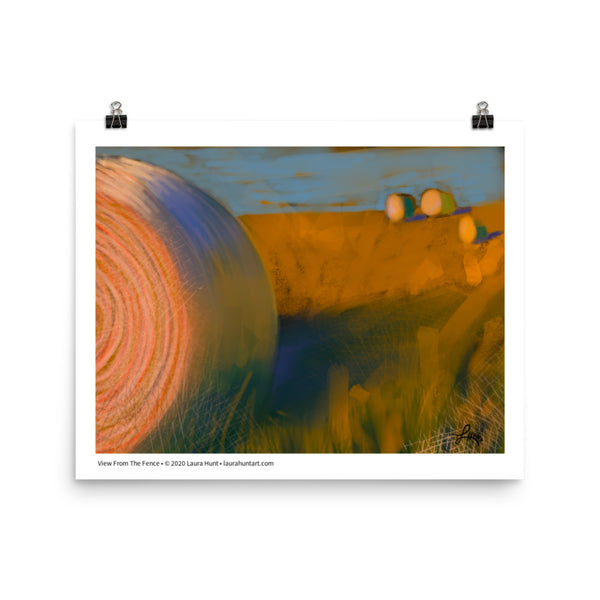 Closeup of large round hay bales with three others in the distance in a golden landscape. By Laura Hunt