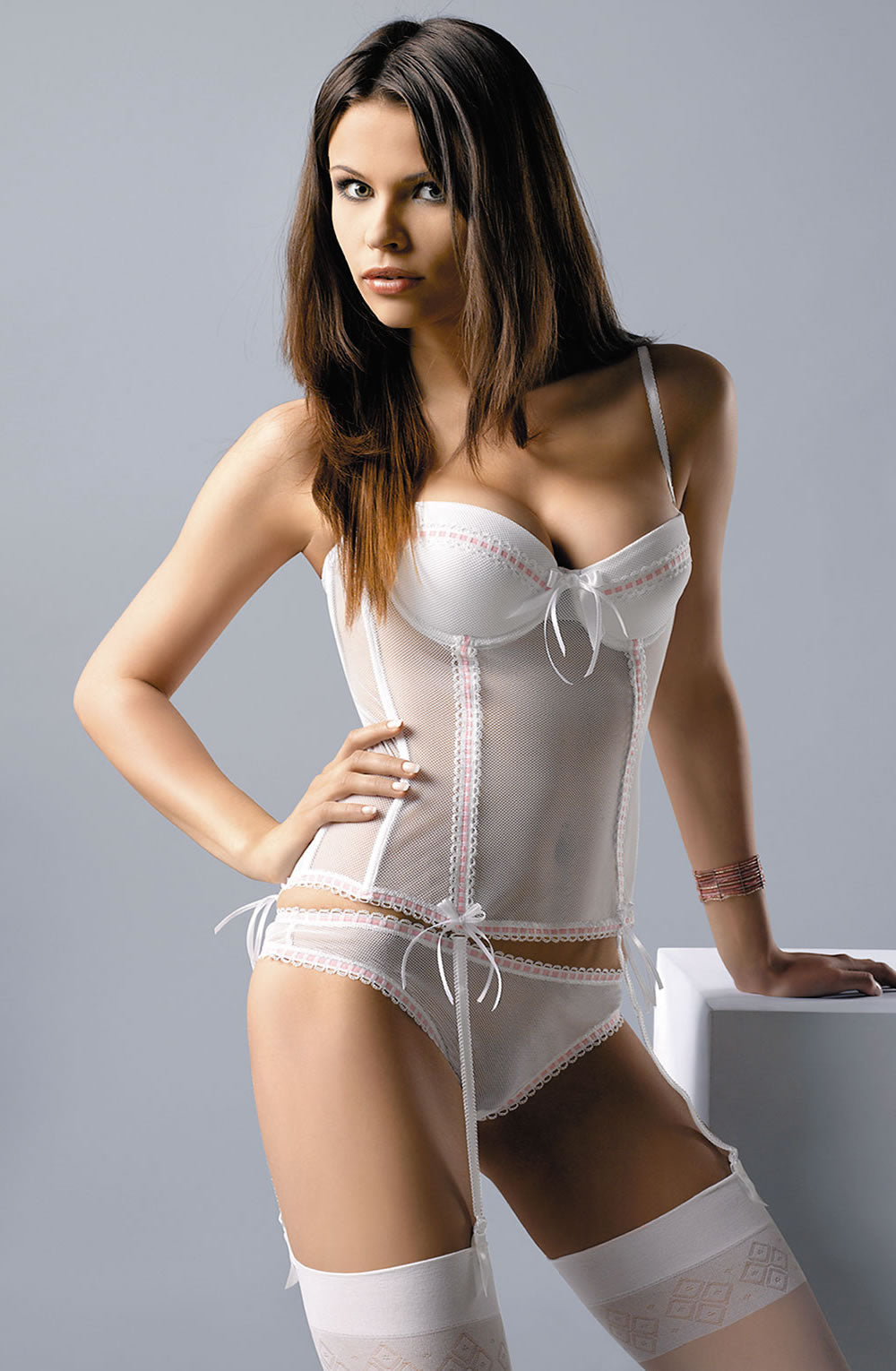 Gracya Paola Corset White/Pink  Corsets, Gracya, Honeymoon, Lingerie Sets, NEWLY-IMPORTED - So Luxe Lingerie